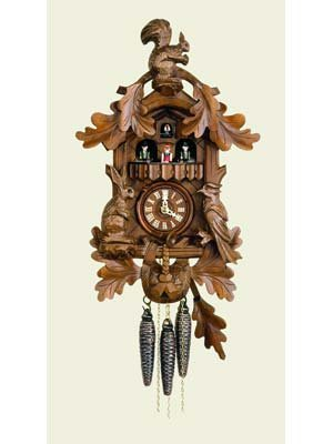 (Quartz Movement Cuckoo Clock with Dancers, 2 Tunes, Hunting Scene and Squirrel on Top 17 Inch)