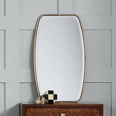 Amazon.com: Curved Oval Gold Thin Frame Wall Mirror | Tall 36 ...