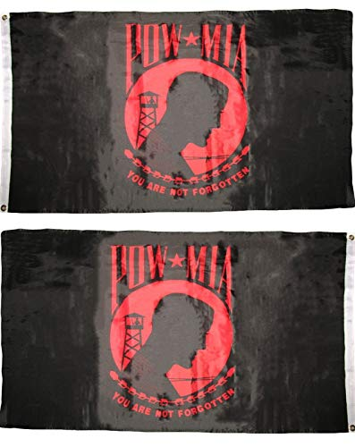ALBATROS Pow Mia You are Never Forgotten Red/Black 3 ft x 5 ft Flag Double Sided 2ply Polyester for Home and Parades, Official Party, All Weather Indoors Outdoors