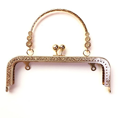 Guo FA 4PCS Clutch Square Embossed Three Flowers Handle Metal Purse Kiss Clasp Frame for Bag Sewing Craft Frame Gold 20 x 6.5CM ()