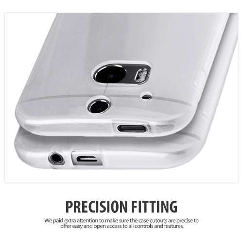 Cimo [SLIM GRIP] HTC One M8 Case Premium Flexible TPU Cover for The All New HTC One / HTC One 2 / HTC One 2014 (2014) - Frosted Clear