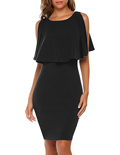 Misakia Women's Off The Shoulder Split Ruffles Keyhole Racerback Bodycon Pencil Dress (Black,L) (Split Ruffle Dress)