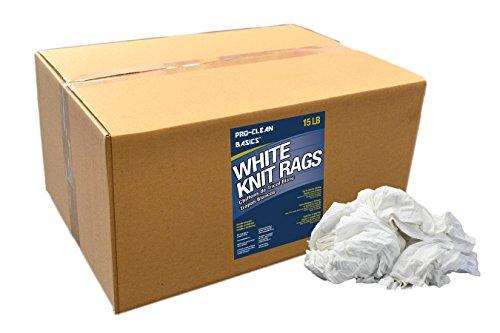 Pro-Clean Basics White T-Shirt Cloth Rags: 15 lb. Box