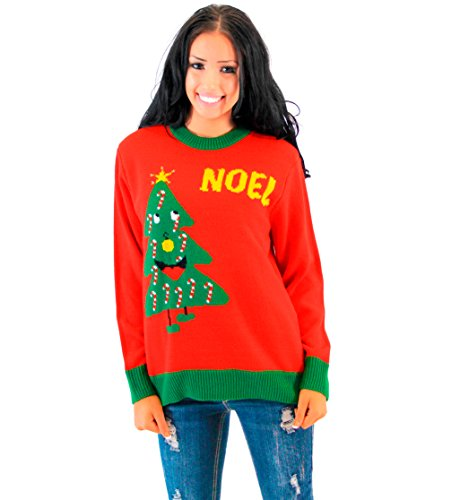 Costume Agent Noel Light Up Smiling Christmas Tree Red Ugly Christmas Sweater (Adult Large)