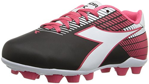 Diadora Kids' Ladro MD Jr Soccer Shoe, Black/White/Pink, 13 M US Little Kid