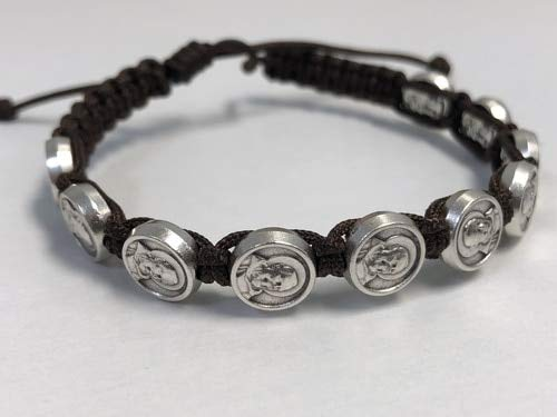 Italian Made Padre Pio Slip Knot Bracelet- Brown. Adjustable. Sold and priced in packs of 12