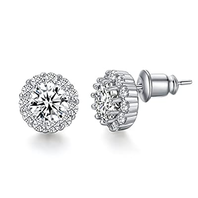 UMODE Jewelry 6mm 0.75 carat Flower Halo Cubic Zirconia CZ Diamond Post Stud Earring For Women 0.4x0.4 In