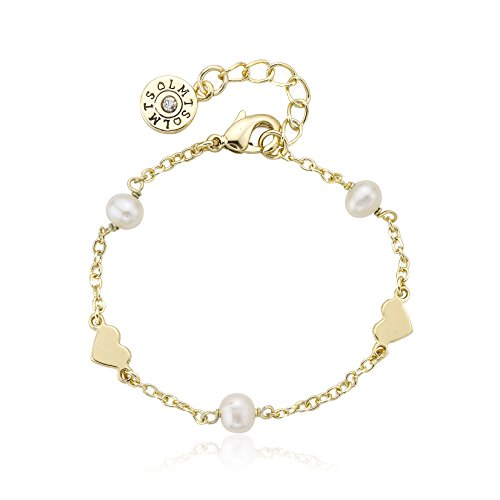 Heart Station Bracelet - Little Miss Twin Stars Girls' Classic! 14k Gold-Plated Fresh Water Pearl and Hearts Station Link Bracelet, 5.5
