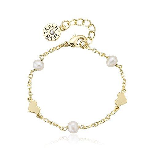 Heart Link Bracelet Gold Plated Bracelet Bridal
