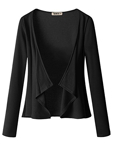 Doublju Jersey Knit Draped Open Front Cardigan for Women with Plus Size Black Small