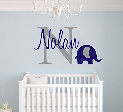 Personalized Name Elephant Animal Series - Baby Boy - Wall Decal Nursery for Home Bedroom Children (Wide 26