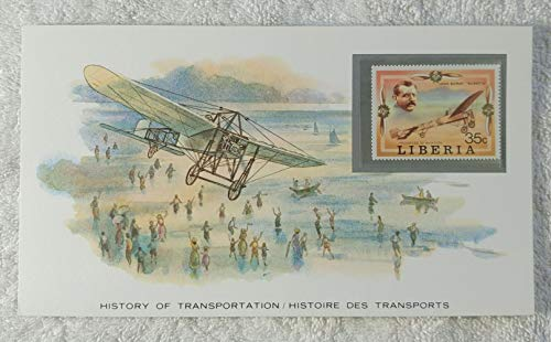 Louis Bleriot - Postage Stamp (Liberia, 1978) & Art Panel - The History of Transportation - Franklin Mint (Limited Edition, 1986) - Bleriot XI, First Successful Powered Flight Across the ()