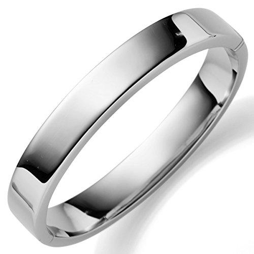 Bracelet Bracelet, Largeur 10mm, Plat, brillant, en or blanc 585