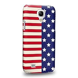 Case88 Premium Designs Art Americana USA Design Half Stars And Stripes Banners Carcasa/Funda dura para el Samsung Galaxy S4 mini (No Normal S4 !)
