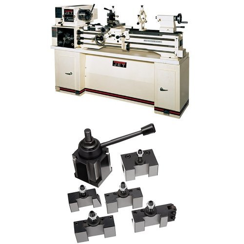 Jet 321120 BDB-1340A-TAK 13-Inch Swing by 40-Inch 230-Volt 1 Phase Belt Drive Metalworking Lathe with Taper Attachment with 200 Series Quick Change Tool Post Set by WMH Tool Group