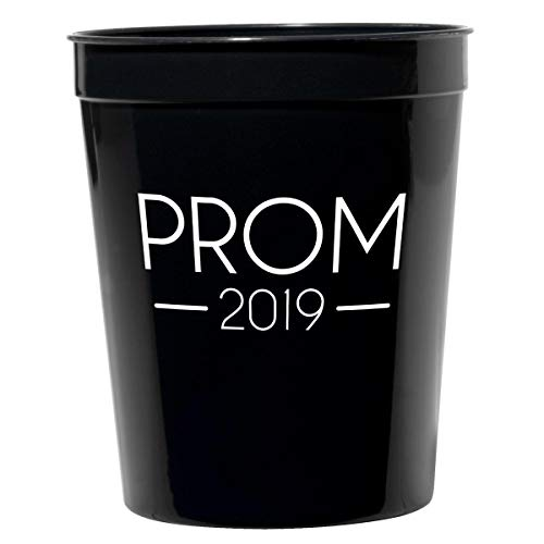 Prom 2019 Stadium Cups, 16 oz Black Plastic Prom Drinkware, Pre-Printed Prom Favors, 12 Count]()