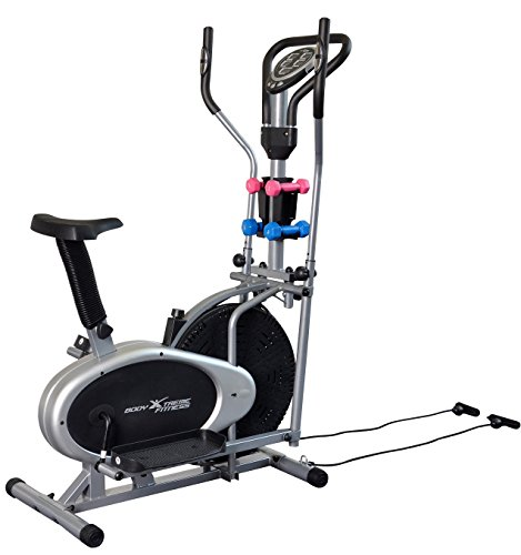 Body Xtreme Fitness 4-in-1 Elliptical Trainer Exercise Bike, Home Gym Equipment, Compact Design, Hand weights, Resistance Bands + BONUS Cooling Towel