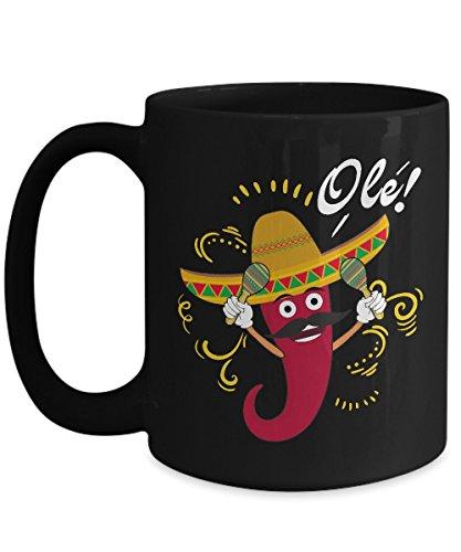 - Shirt White Dancing Chili Pepper Ole For Cinco de Mayo Coffee Mug 15oz Black
