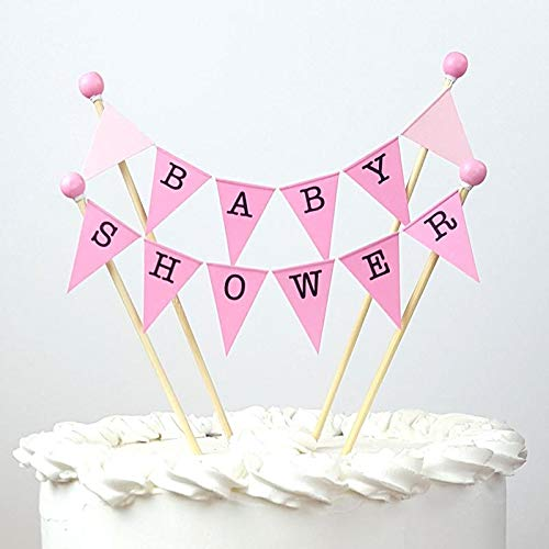 amazing buntings, Baby Shower Cake Topper Bunting Party Decoration, Pink Pastel, Preassembled