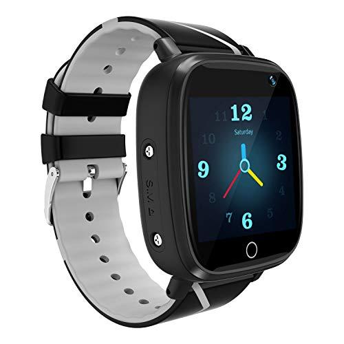 YENISEY Kids GPS Tracker Smartwatch, Kids Waterproof Smartwatch Phone, SOS Camera Flashlight Alarm Clock Voice Chat, Math Game Watch Child Christmas Birthday Gift 3-12y