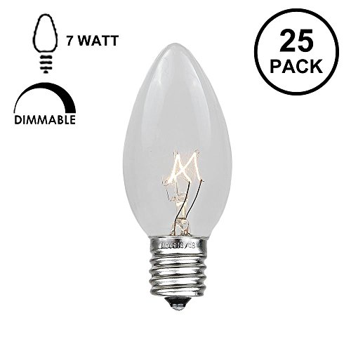 E17 Base C9 (Novelty Lights 25 Pack C9 Outdoor Christmas Replacement Bulbs, Clear, E17/C9 Base, 7 Watt)