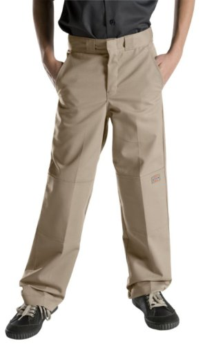 Dickies Big Boys' Flex Waist Double Knee Pant, Khaki, 14