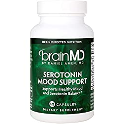 Dr. Amen brainMD Serotonin Mood Support - 120 Capsules - Promotes Tranquil Mind & Body, Supports Calm, Emotional Balance & Healthy Weight Management - 30 Servings