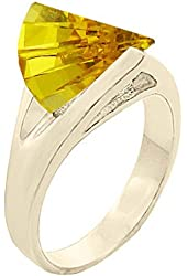 6.0 cw CZ, 14k Gold Overlay Golden Champagne CZ Ring