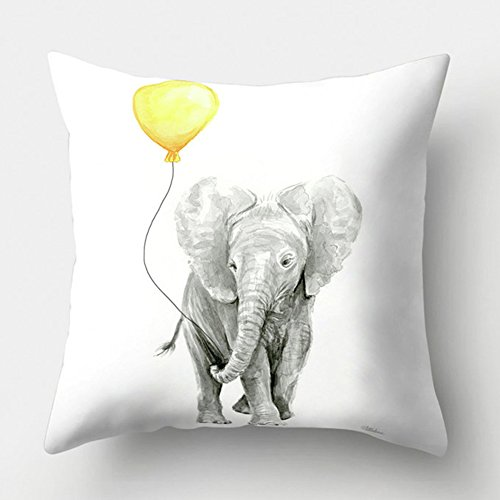 Easternproject Yellow Style Pillowcase Inspirational Quote Words Animal Fruit Pattern Home Decorative Super Soft Throw Pillow Case Cushion Cover 18''x18'' (Elephant with Balloon)