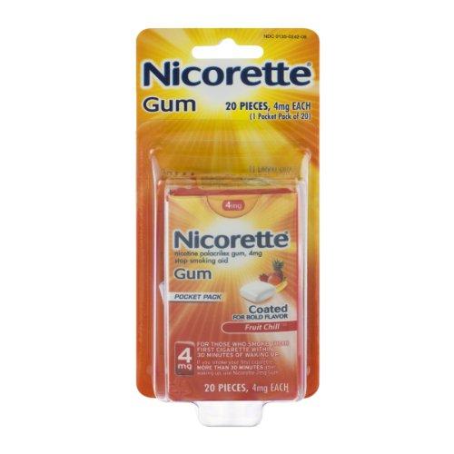 Nicorette New Pocket Pack Gum 4mg Fruit Chill - 20 Ea, 3 Pack