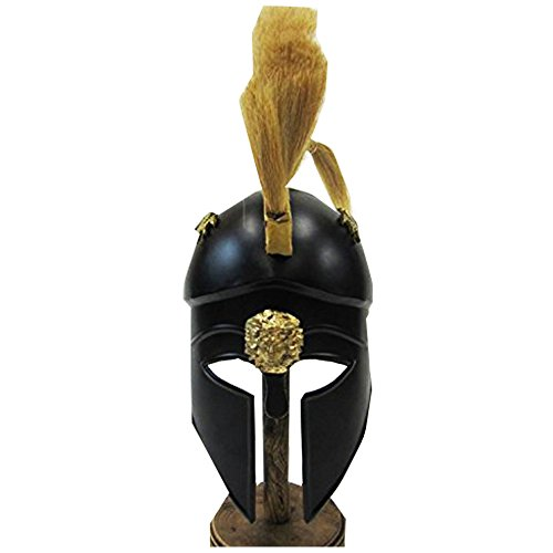 [Reproduction Black Greek Corinthian Helmet W/ Plume, Trim - Steel Wearable Armor Costume] (Authentic Stormtrooper Costume For Sale)