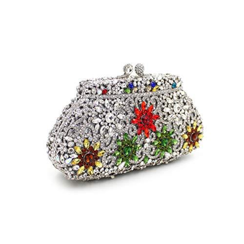 de strass dîner la Sac Couronne de Embrayage Silver de cristal diamant de de papillon luxe métal sac Sac de de creux de en zwn8f5xq