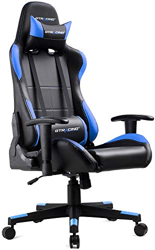 GTRACING Gaming Chair Ergonomic Racing Chair PU Leather High-Back Adjustable Height Professional E-Sports Chair with Headrest and Lumbar Pillows GTBEE Series Black/Blue