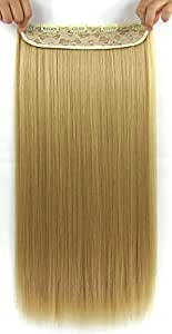 Beaute Galleria – 22 Inches Clip In Synthetic Hair Extensions (Straight) (Golden Blonde)