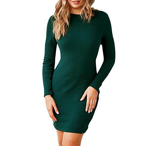 Longay Women Long Sleeve O-Neck Bow Dress Sexy Mini Bandage Fashion Mini Dress (Green, S)