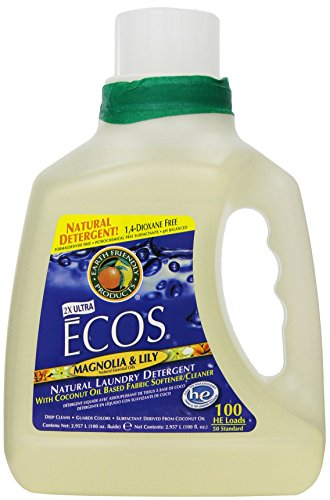 Earth Friendly Products  2X Ultra ECOS Liquid Laundry Detergent With Built in Softener, Magnolia & Lily, 100 Loads, 100-Ounce Bottle (Pack of 2) - Natural Laundry Soap