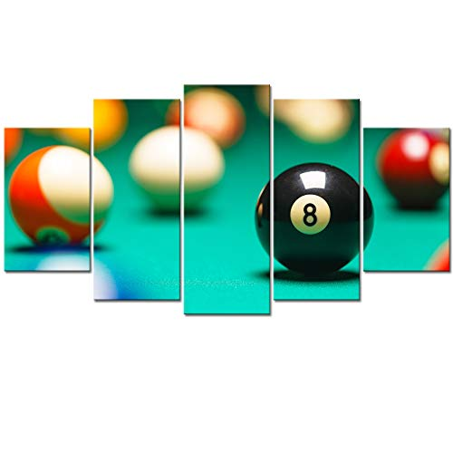 Visual Art Decor Large 5 Pieces Playing Pool Table Billiard Balls Giclee Prints Canvas Wall Art Framed and Stretched Snooker Game Picture for Club Bar Room Wall Decoration (L-60 X H-32) (Game Room Pictures)