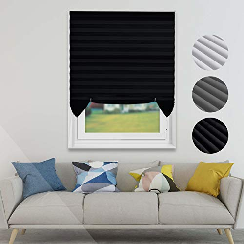 TFSKY Pleated Shades Pull Down Blinds Cordless Shades Temporary Blinds 36″x72″ for Window & Home, Black, 6-Pack
