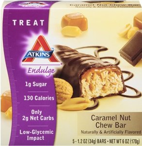 Atkins Endulge Bar Caramel Nut Chew, Caramel nut chew 5 Pack (Pack of 2)