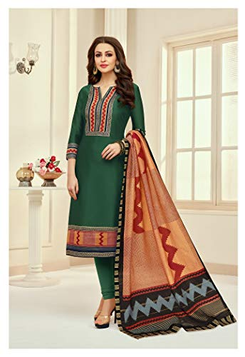 Cotton Fabric Heavy Embroidered Churidar Salwar Suit with Chanderi Digital Print Dupatta (XX-Large, Green) (Designer Churidar Suits)