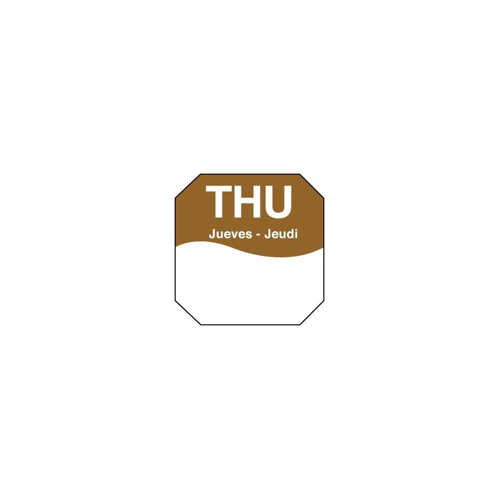 DayMark 1100604 Trilingual Octagonal 1'' Thursday Day Label - 1000 / RL