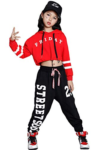 Girls Hip Hop Dance Set Modern Jazz Dance Outfit Kids Street Hoodies Dancewear