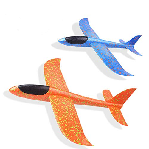 Liushuliang Throwing Foam Airplanes EPP Foam Glider Fighter Hand Throwing Plane Inertia Launch 48cm Big Airplane Toys Outdoor Playground Toys(2 Pack) by Liushuliang
