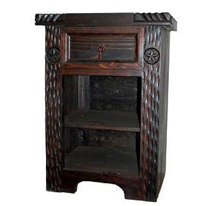 Rustic Dark Nightstand, Western, Real Wood, End Table, Bedside Table