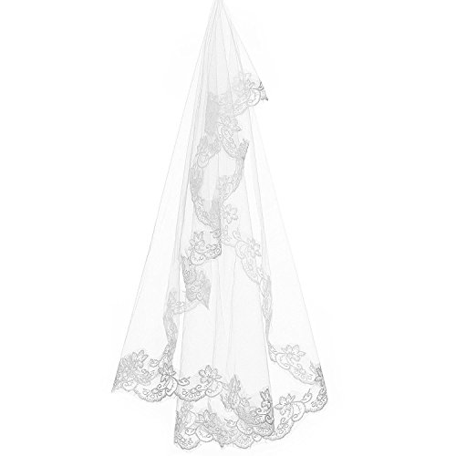 XingMeng Elbow Length Tulle 1 Tier Lace Applique Wedding Veil with Comb White