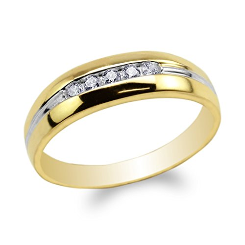 JamesJenny Mens 10K Yellow Gold Two Tone Lines Round CZ Embedded Wedding Band Ring Size 11