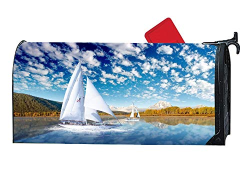 Waterscapes Sailboat Lake Customized Magnetic Mailbox Cover Home Garden Mailbox Wraps for Standard Size Postbox 6.5x19 inches