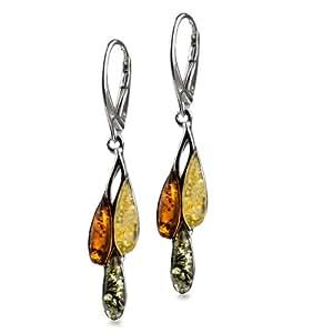 Sterling Silver Multicolor Amber Drops Dangle Leverback Earrings