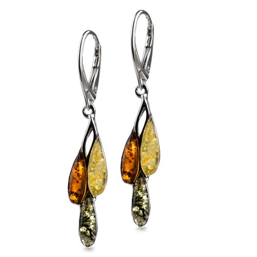 Sterling Silver Multicolor Amber Drops Dangle Leverback Earrings
