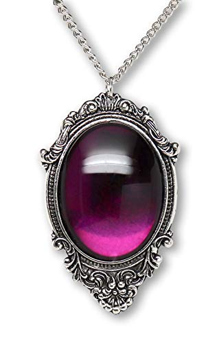 Purple Cabochon in Antiqued Silver Finish Pewter Frame Pendant Necklace